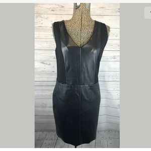 Thml little black dress faux leather sleeveless m